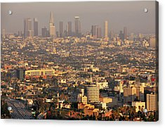 Los Angeles Skyline Acrylic Print by Photo by Seattle Dredge