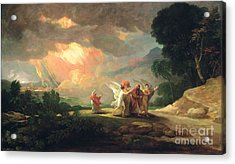 Lot Fleeing From Sodom Acrylic Print by Benjamin West