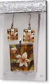 Acrylic Print featuring the jewelry Lotus Flower Pendant And Earring Set by Darleen Stry