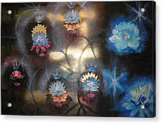 Acrylic Print featuring the mixed media Lotuses In Muddy Waters by Diana Riukas