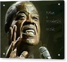 Louis Armstrong Wonderful World Acrylic Print by Yury Malkov