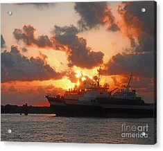 Louisiana Sunset In Port Fourchon Acrylic Print