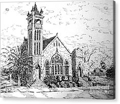 Acrylic Print featuring the drawing Louisianna Church 1 by Gretchen Allen