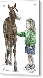 Acrylic Print featuring the drawing Love At First Sight - Girl And Horse Print Color Tinted by Kelli Swan