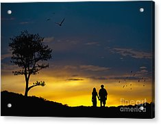 Love Couple Silhouette At Sunset Acrylic Print by Andre Babiak