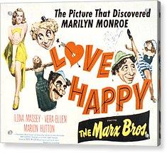 Love Happy, Marilyn Monroe, Marion Acrylic Print by Everett