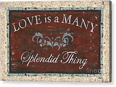 Love Is A Many Splendid Thing Acrylic Print by Debbie DeWitt