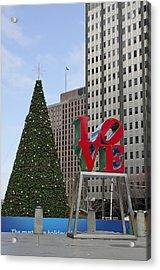 Love Park Philadelphia - Winter Acrylic Print by Brendan Reals
