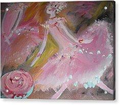 Love Rose Ballet Duet Acrylic Print by Judith Desrosiers