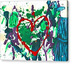 Acrylic Print featuring the painting Love Survives A Trashy Time by Sharon Mick