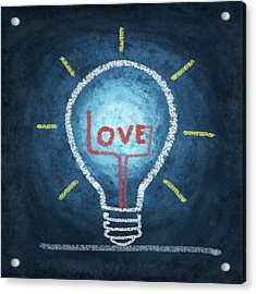Love Word In Light Bulb Acrylic Print