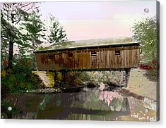 Lovejoy Covered Bridge Acrylic Print by Charles Shoup