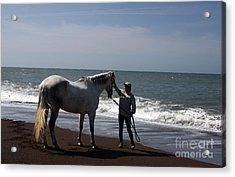 Love's Touch Acrylic Print by Juan Romagosa