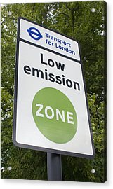 Low Emission Zone Sign In Essex, Uk. Acrylic Print by Mark Williamson