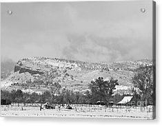 Low Winter Storm Clouds Colorado Rocky Mountain Foothills 7 Bw Acrylic Print by James BO  Insogna