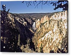 Lower Falls On The Yellowstone River Acrylic Print by Rod Jones