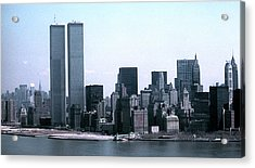 Lower Manhattan Island With Twin Towers Acrylic Print