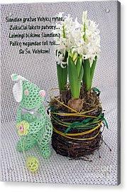 Lt Easter Greeting. Bunny. Lithuanian Text Acrylic Print