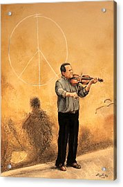 Luchese Street Musician Acrylic Print by Greg Riley