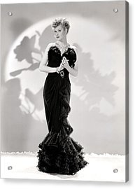 Lucille Ball Models A Lovely Black Acrylic Print by Everett