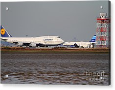 Lufthansa Airlines And Jetblue Airlines Jet Airplane At San Francisco International Airport Sfo Acrylic Print by Wingsdomain Art and Photography