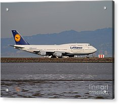 Lufthansa Jet Airplane At San Francisco International Airport Sfo . 7d12353 Acrylic Print by Wingsdomain Art and Photography