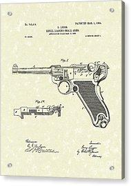 Luger Handgun 1904 Patent Art Acrylic Print