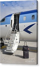 Luggage Near Airplane Steps Acrylic Print by Jaak Nilson