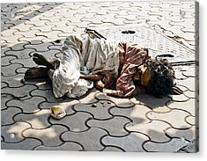 Lunch On Bombay Streets Acrylic Print by Kantilal Patel