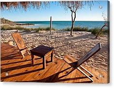 Luxurious Terrace On The Beach Acrylic Print by Pierre-Yves Babelon