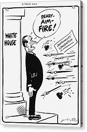Lyndon B. Johnson: Cartoon Acrylic Print by Granger