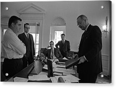 Lyndon Johnson With Former Kennedy Acrylic Print