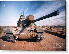 M-60 Battle Tank In Motion Acrylic Print by Stocktrek Images