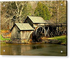 Acrylic Print featuring the photograph Mabry Mill In Winter by Myrna Bradshaw