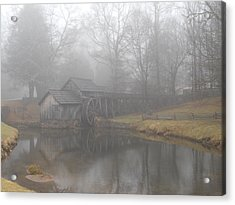 Acrylic Print featuring the photograph Mabry Mill On A Foggy Day by Diannah Lynch