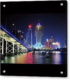 Macau City At Night Acrylic Print by Thank you for choosing my work.