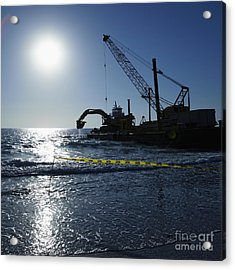 Machinery Cleaning Up A Pier Acrylic Print by Skip Nall