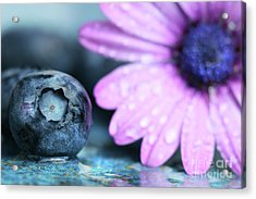 Macro Shot Of A Blueberry Acrylic Print by Sandra Cunningham