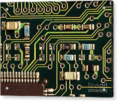 Macro View Of A Computer Motherboard Acrylic Print by Yali Shi