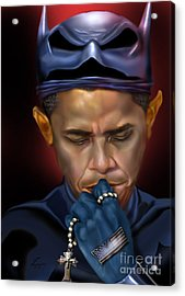 Mad Men Series 1 Of 6 - President Obama The Dark Knight Acrylic Print by Reggie Duffie
