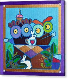 Mad Owl Tea Acrylic Print by Jenny Valdez