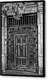 Acrylic Print featuring the photograph Maderia Door In Black by Rick Bragan