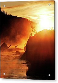Madison River At Sunrise Acrylic Print by by Adam Christensen