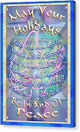 Madonna Dove And Chalice Vortex Over The World Holiday Art With Text Acrylic Print