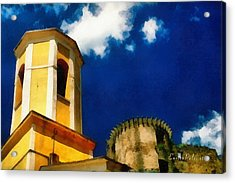 Acrylic Print featuring the mixed media Madrignano Castello E Campanile by Enrico Pelos