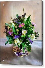 Magenta And White Mum Bouquet Acrylic Print by Susan Savad
