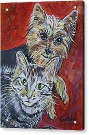 Maggie Mae And Buddy Acrylic Print by Paintings by Gretzky