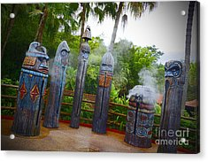 Magic Kingdom - Tiki Statues Acrylic Print by AK Photography