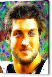 Magical Tim Tebow Face Acrylic Print by Paul Van Scott