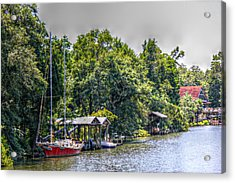 Magnolia River With A Red Sailboat Acrylic Print